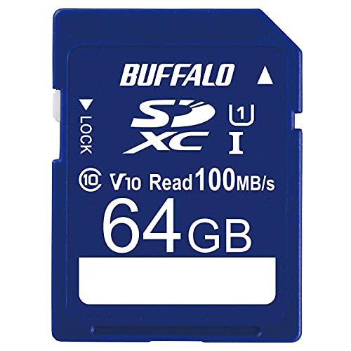 バッファロー SDカード 64GB 100MB s UHS-1 スピードクラス1 VideoSpeedClass10 IPX7 Full HD データ復旧サービス対応 RSDC-064U11HA N
