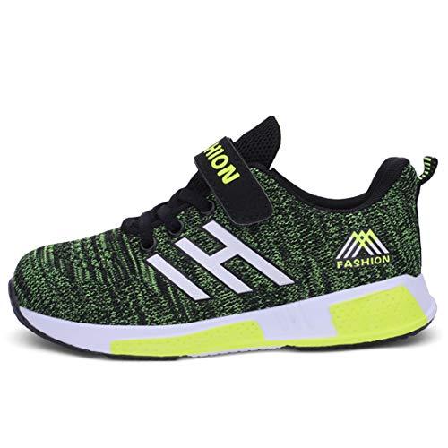 Powtech Jungen Mädchen Turnschuhe Sportschuhe Atmungsaktiv Laufschuhe Kinder Sneaker (CN33, 861-Schwarz-grün)
