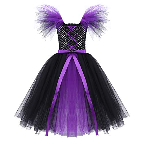 FEESHOW Girls Witch Tutu Dress Halloween Cosplay Costume Party Dress up Fluffy Tulle Gown Black&Purple 10-12