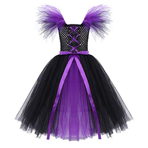 MSemis Disfraz de Bruja Maléfica para Niñas Cosplay Reina de Oscuridad Vampiresa Vestido de Fiesta Tutú Morado Traje Halloween Regalo Cumpleaños Negro y Violeta 4-5 Años