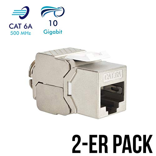 VESVITO 2x Keystone Jack Modul CAT 6A RJ45 Buchse, geschirmt, bis 10 Gigabit Ethernet, werkzeuglos, kompatibel mit CAT7A CAT7 CAT6 Netzwerkkabel, Einbaubuchse für Verlegekabel Patchpanel Patchfeld
