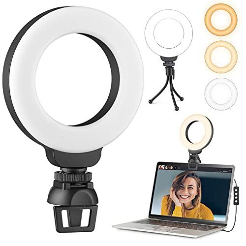 """Anillo de Luz Videoconferencia, 4"""" Aro de Luz con Trípode y Clip para Laptops, Webcam, Cámaras y Teléfonos Móviles, 3 Modos de Iluminación y 10 Brillos"""