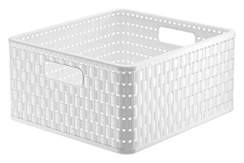 Rotho Country Aufbewahrungskiste 14l in Rattan-Optik, Kunststoff (PP) BPA-frei, weiss, 14l (32,8 x 30,0 x 16,0 cm)