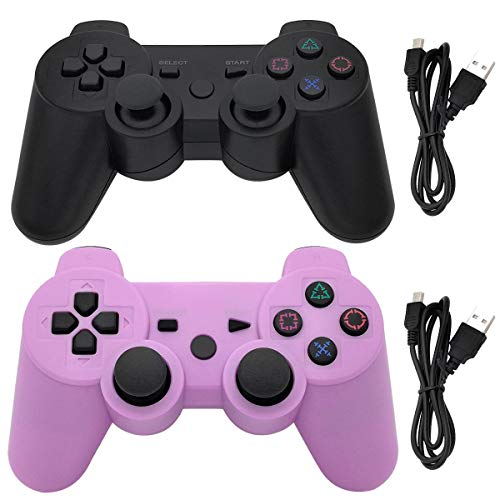 Ceozon PS3 Controller Wireless Playstation 3 Controller Bluetooth Gamepad for Playstation 3 Remote Joystick with Charging Cords 2 Pack Black + Purple