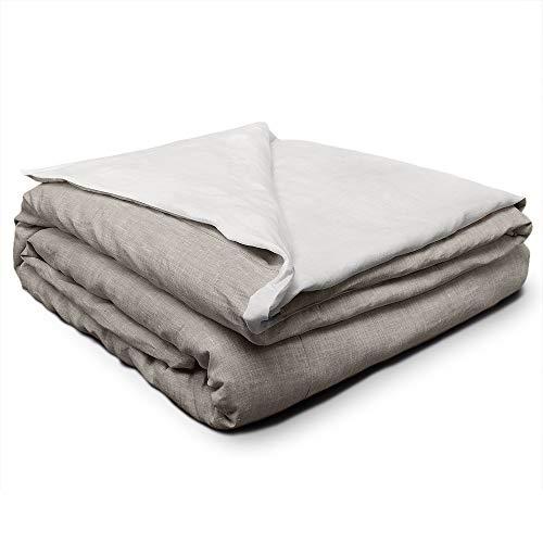 Cuore di lino - Moderne Bettwäsche aus Leinen, creme-weiß und natur (155 x 200 + 40 cm)