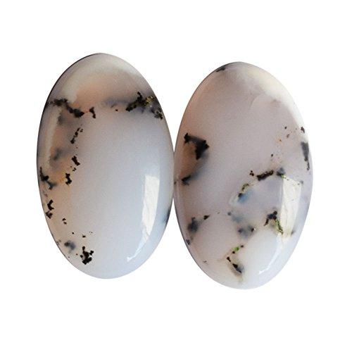 Precio asequible Natural Dendrite ágata Oval par Cabochon, piedra preciosa para pendiente, Dendrítica AG-8651