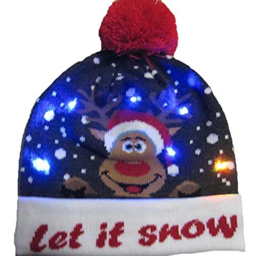 Gebreide hoed, kerstmuts, LED, voor Kerstmis, kleurrijk, geschikt voor kinderen, volwassenen, vrouwen B