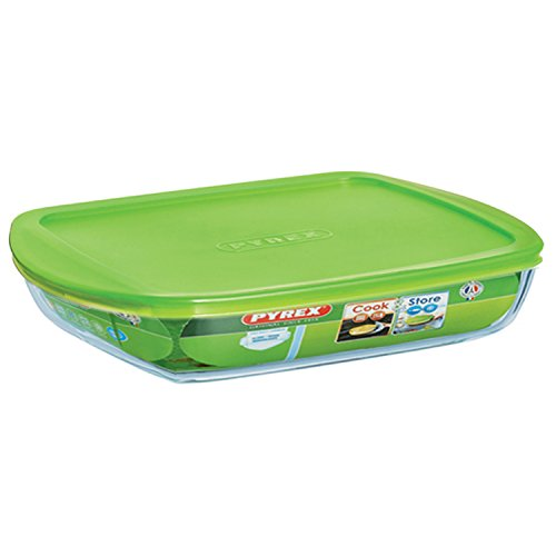 Pyrex Cook & Store Glass rectangular Dish shallow version high resistance with lid 28x20x5 cm