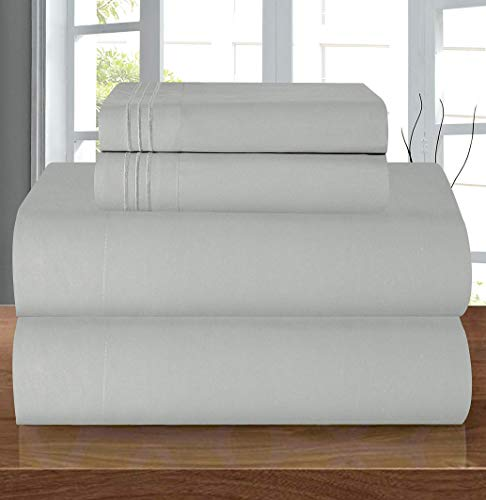 Elegant Comfort Luxury Soft 1500 Thread Count Egyptian Quality 4-Piece Sheet Wrinkle and Fade Resistant Bedding Set, Deep Pocket up to 16inch Full Silver Grey