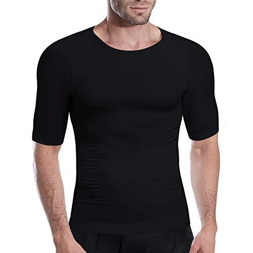 HÖTER Men's Slimming Light Compression Crew Neck Shirt - Short Sleeve Body Shaper T-Shirt for Weight Loss Black