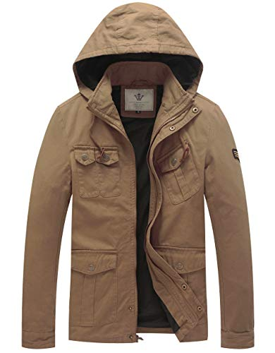 WenVen Men's Cotton Military Light Hooded Jackets (Khaki,M)