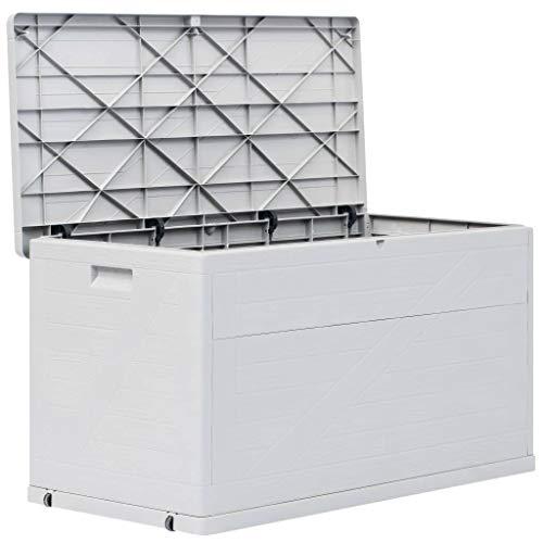 mewmewcat Auflagenbox Wasserdicht Groß 420 L Gartenbox Kunststoff Kissenbox Aufbewahrungsbox Garten Gartentruhe Gerätebox für Indoor und Outdoor, 120x56x63 cm Hellgrau