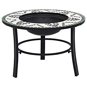Patio Mossaic Round Table Top Charcoal Barbeque Grill Kit Green