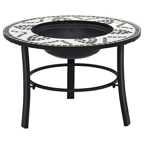 Festnight Mosaic Fire Pit, with a Three-leg Stand, Round Tabletop for Placing Drinks and Roasting Supplies, for Garden or Patio Decor, Green 68cm Ceramic