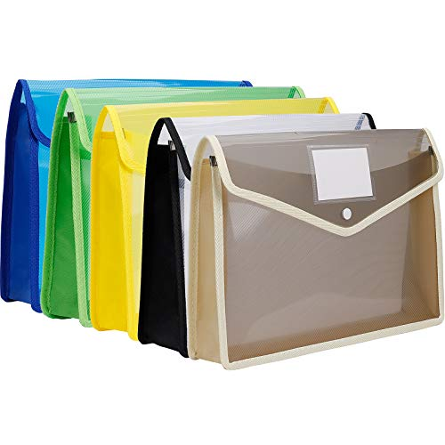 Cartelle Portadocumenti A4 in Plastica Portadocumenti Trasparente con Bottone per Scuola Ufficio o Casa 5 Pezzi