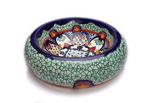 Cerames Juanetta - Mexikanische Rund Aufsatzwaschbecken | 40 cm Keramik Talavera klein Waschbecken aus Mexiko | Buntes Deko motiven