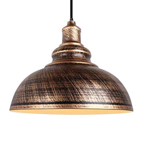 Lámpara Vintage Colgante, E27 Retro Lámpara de Techo Ø29cm Vintage Metal Lámpara de Araña Iluminación Decorativa para Loft Restaurante Coffee Bar (Bronce)