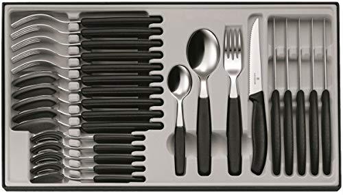 Victorinox Swiss Classic 12-tlg. Besteck Set, für 6 Personen, 6 x Steakmesser, 6 x Tafelgabel, 6 x Esslöffel, 6 x Kaffeelöffel, schwarz
