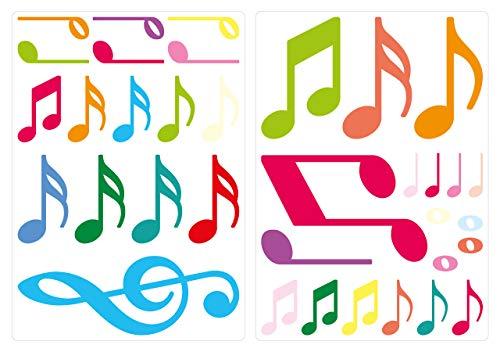 dekodino® Wandtattoo Noten in bunten Farben 35 Stück Wandsticker Set