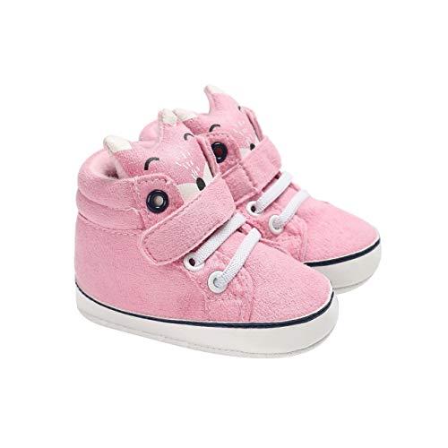 DEBAIJIA Bebé Niña Primeros Pasos Zapatos para 6-18 Meses Infante Zapato de Algodón Patrón de Zorro Suela de Silicona Antideslizante Transpirable Ligero Cierre de Cinta Mágica Cordones Deportivas