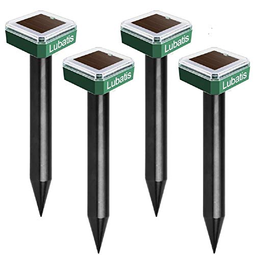 Lubatis 4 Pack Mole Repellent Mole Chaser Spikes Solar Mole Repeller Groundhog Deterrent Gopher Chaser Vole Away