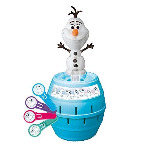 TOMY FRO 2 Pop Up Olaf, Wackelspass Olaf, Frozen, Gesellschaftsspiel für Jungen und Mädchen, Mehrfarbig, Ab 4 Jahren