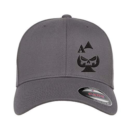 Ace of Spades Sniper Gun Punisher Embroidered Flexfit Fitted Baseball Cap Hat 2nd Amendment (Grey Hat Black Thread, Large-XLarge)