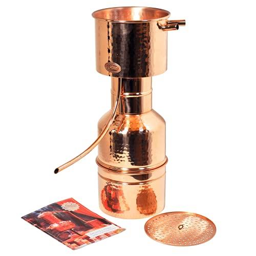 Copper Garden Kupfer Destille Leonardo 2 Liter I Kleindestille nach Dr. Helge Schmickl mit Aromasieb I Legales Destilliergerät für ätherische Öle/Hydrolate/Düfte/destilliertes Wasser etc.