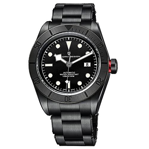 Pagani Design Black Bay 58 Homage - Reloj automático para hombre, correa de acero inoxidable, mecanismo japonés NH35A, espejo curvado de zafiro, resistente al agua 100 m, color negro