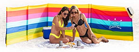 BEACH FENCE 20 ft Beach Windscreen, Privacy Screen, Wind Blocker - Beach Colors, with Mallet and Carry Bag