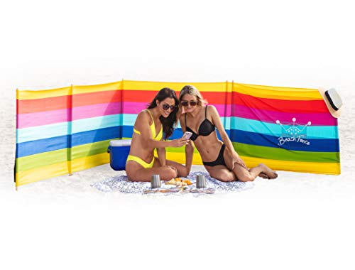 Beach Windscreen, Privacy Screen, Wind Blocker - Beach Colors, with Mallet and Bag