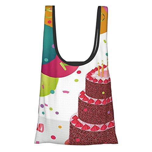 Hdaw Geburtstagsdekoration, Erdbeer-Triplex-Kuchenkerzen, Bänder, Luftballons, für Neugeborene, ES, mehrfarbig, wiederverwendbar, faltbar, umweltfreundlich, Einkaufstaschen