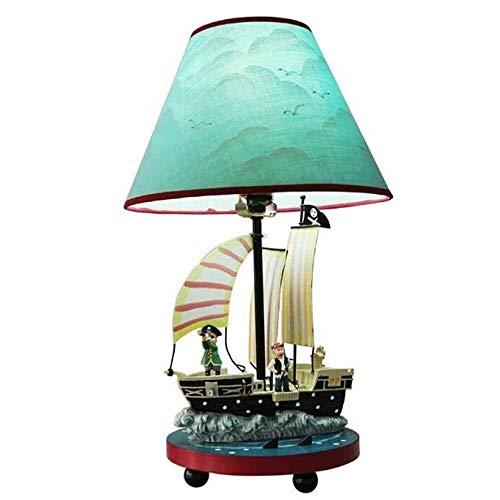 GLYYR Lámpara de Escritorio Barco Pirata lámpara de Mesa Dormitorio lámpara de Noche habitación de los ni?os Creativo Lindo Dibujos Animados Personalidad atenuación lámpara de Mesa 28 * 45 cm