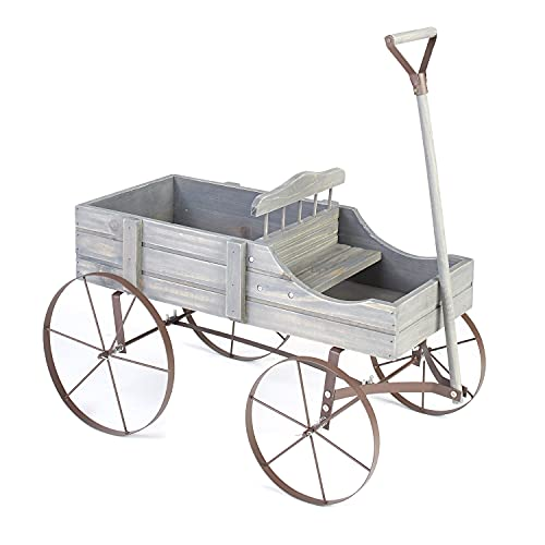 Wooden Country Planter Wagon with 2 Planting Sections - Gray