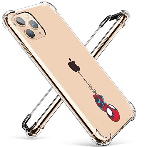 """Logee TPU Spider Funny Cute Cartoon Clear Case for iPhone 11 Pro Max 6.5"""",Fun Kawaii Animal Shockproof Cover,Ultra-Thin Chic Unique Creative Character Cases for Kids Teens Girls Boys(iPhone 11 Pro Max"""