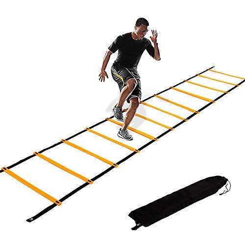 Echelle Agilité 6m/Echelle de Coordination/Ladder/Echelle Football avec Valise Noire pour Les Exercices de Vitesse et de Coordination ,pour enfants Adultes Entraînement de vitesse de football