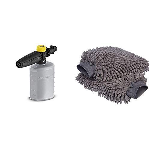 Karcher Boquilla de Espuma FJ 6 (2.643-147.0) & Amazon Basics - Mitón para Lavado de Coches de Microfibra de Lujo, Paquete de 2