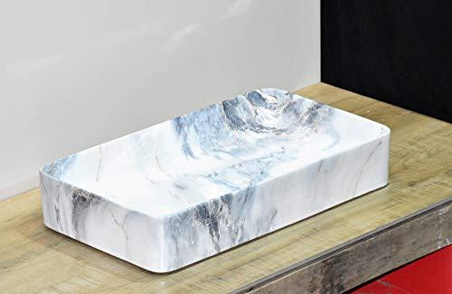InArt Lavabo Sobre Encimera de Baño Lavabo Porcelana Rectángulo de cerámica para baño Lavabo de Cerámica, Fregadero de sobre Encimera 61 x 33.5 x 11 cm (Patrón de mármol blanco azul)