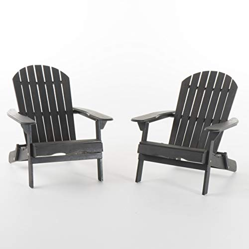 Hillary Outdoor Rustic Acacia Wood Folding Adirondack Chair (Set of 2), Dark Gray