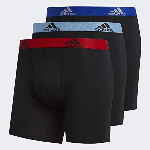 adidas Herren Boxershorts aus Stretch-Baumwolle, 3er-Pack, Schwarz/Scharlachrot/Hellblau/Schwarz/BO, Größe L