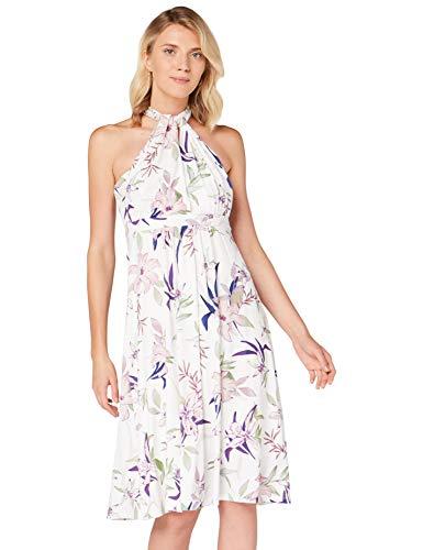 Amazon-Marke: TRUTH & Fable Damen Hochzeitskleid Multiway Midi, Mehrfarbiger Lilienaufdruck, 36, Label:S