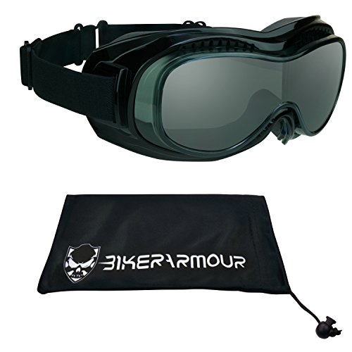 Motorcycle Safety Goggles Fit Over Eyeglasses, Anti Fog Lens Black Frames, Dual Foam