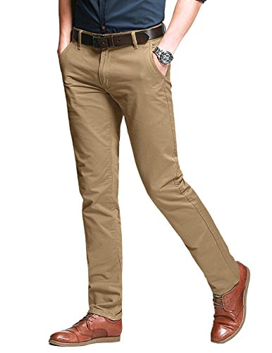 Match Men's Fit Tapered Stretchy Casual Pants (34W x 31L, 8106 Khaki)