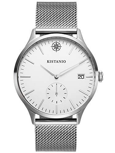 Kistanio herenhorloge Stratolis saffierglas staal zilver mesh met Milanese band KIS-STR-40-128