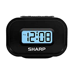 Sharp LCD Display Digital Alarm – Ascending Alarm – Blue Backlight on Demand – Easy to Use - Battery Operated - Black Case