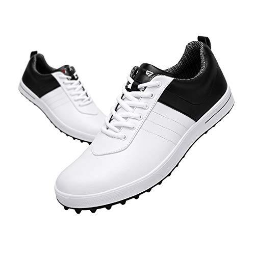 CGBF-Zapatos de Golf Impermeables y Transpirables para Hombre Zapatillas Zapatos Deportivos Casuales de Moda,Blanco,45 EU