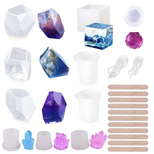 Woohome Moldes Silicona Resina, 22 Pz Silicona Moldes de Joyería Incluyendo Cubos, Piedras, Piedras de Cristal, Diamantes y Palos de Madera para La Creación de Joyas, Velas y Artesanías