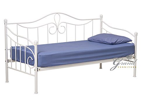 Lisbon White Metal Day Bed with Trundle Victorian Style 3FT Single Guest Bed Frame (Without Trundle)