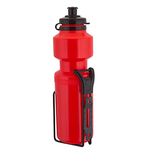 Sunlite Water Bottle with Steel Cage, 25oz, Red