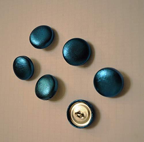 Knöpfe Metall Stoff bezogen 6 Stück türkis Handarbeit